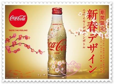 ♥小花花日本精品♥Hello Kitty 可口可樂春節限定2018限定曲線瓶日本製造250毫升 90115103