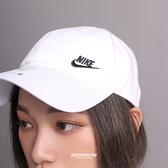 NIKE 運動帽 老帽 NSW 白 刺繡小logo 可調式 棒球帽 (布魯克林) AO8662-101