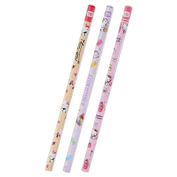 小禮堂 Hello Kitty 六角鉛筆組 2B鉛筆 木鉛筆 (3入 粉 滿版) 4550337-23551