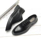 皮鞋 男士商務正裝休閒皮鞋青年系帶尖頭黑色婚鞋 巴黎春天