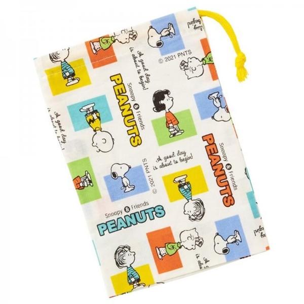 小禮堂 史努比 日本製 棉質牙刷杯袋 (米彩格款) 4973307-56409