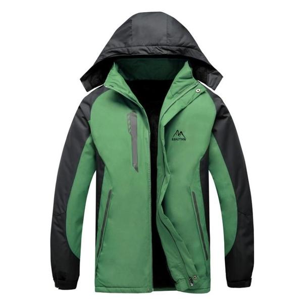 秋冬加絨男士衝鋒衣戶外運動登山服休閒滑雪防寒服外套保暖棉衣厚