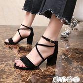 粗跟涼鞋 涼鞋女羅馬鞋韓版粗跟中跟交叉綁帶一字扣女鞋女涼拖【全館9折】