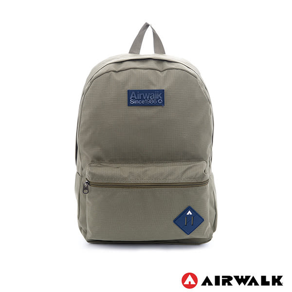 美國 AIRWALK 極簡輕生活 格紋尼龍防潑水後背包 -中綠