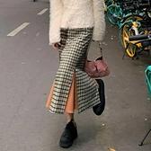 秋冬復古港味高腰格子半身裙中長款a型拼色魚尾裙開叉設計感小眾 智慧e家