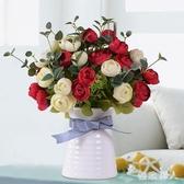 清新茶玫瑰花仿真花裝飾擺件客廳絹花擺設餐桌花藝干花卉裝飾盆栽 LJ449【極致男人】