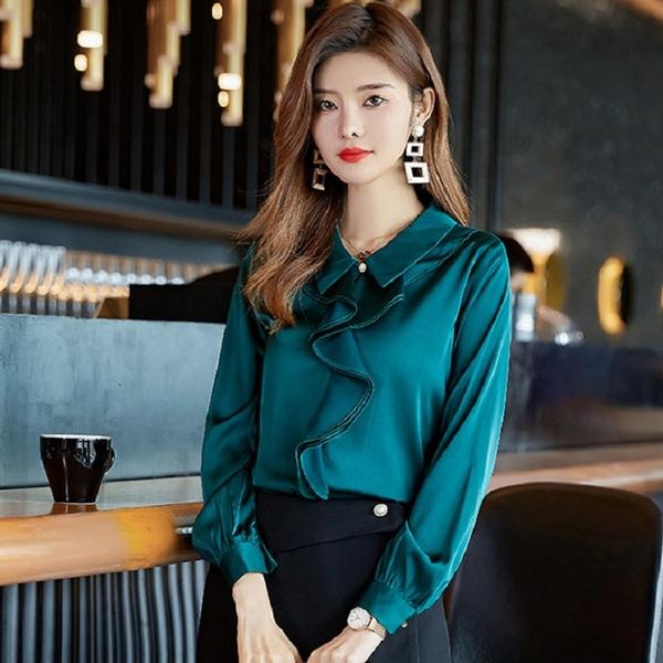 絲質緞面荷葉波浪領設計秋冬襯衫[21S230-PF]美之札