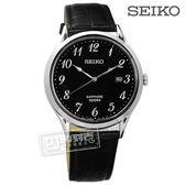 SEIKO 精工 / 7N42-0FW0U.SGEH77P1 / 雅緻簡約藍寶石水晶防水真皮手錶 黑色 40mm