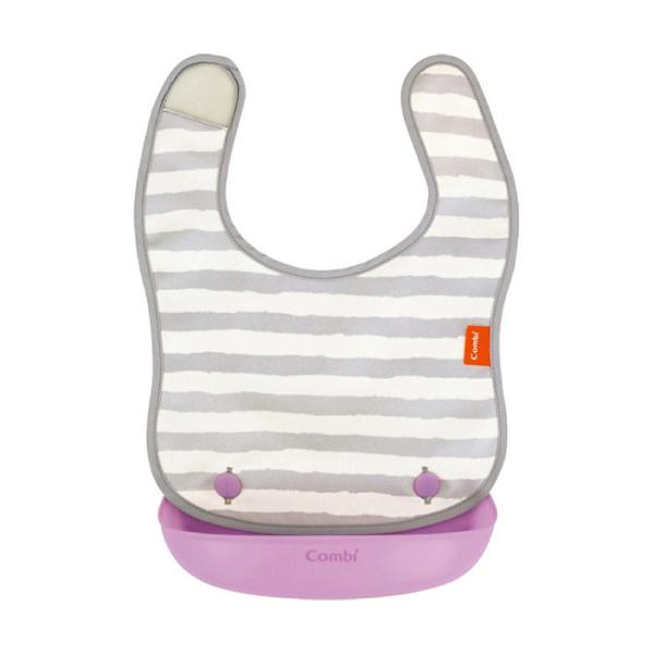 康貝 Combi 新防污口袋圍兜 紫斑馬(5M以上適用)