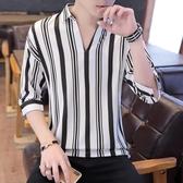 襯衫男冰絲順滑七分袖豎條紋男士套頭透氣寸衫冰爽T恤夏季襯衣 快速出貨
