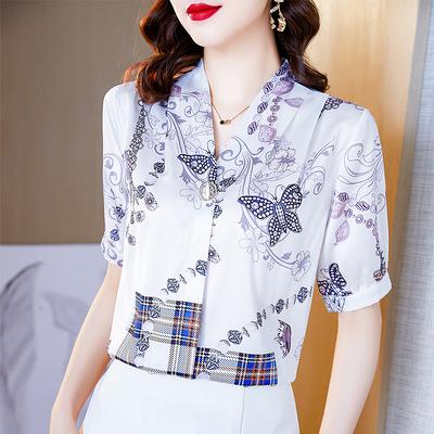 上衣 短袖襯衫622#短袖打底襯衫女士夏裝時尚洋氣質上衣襯衣夏季D765依佳衣