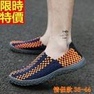 編織鞋(單雙)-夏季新款流行透氣懶人手工男女休閒鞋5色69t12【時尚巴黎】