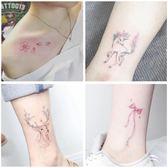 雙12聖誕交換禮物紋身貼防水女小清新可愛持久韓國少女心仿真櫻花鹿花朵腳踝