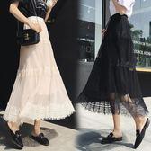 網紗洋裝   夏季新款韓版蕾絲拼接百褶中長款高腰半身  AB1713 【棉花糖伊人】
