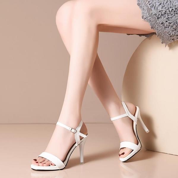 高跟涼鞋 夏季新款高跟防水台涼鞋女歐美一字扣帶白色露趾細跟時尚女鞋 瑪麗蘇