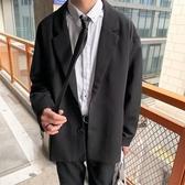 西裝外套秋季港風西裝外套男新款休閒學生黑色單西韓版潮流文藝西服上衣潮聖誕交換禮物