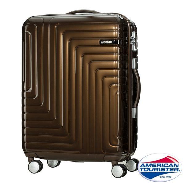 AT美國旅行者 28吋Dartz立體折線飛機輪硬殼TSA行李箱(深褐)