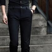 褲子男春季男士直筒商務休閒褲修身韓版潮流小腳西褲彈力黑色長褲