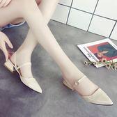新款軟妹包頭涼鞋女粗跟中跟韓版百搭一字扣羅馬尖頭女鞋子   蓓娜衣都