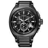 CITIZEN 錶現自我光動能鈦金屬腕錶(黑)