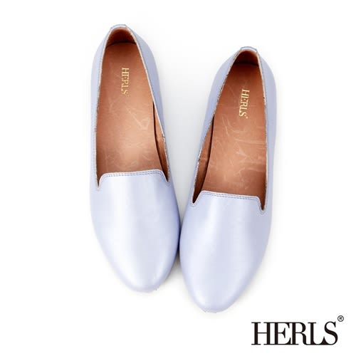 HERLS 平底鞋 鞋匠手作 全真皮 素面樂福鞋-紫色