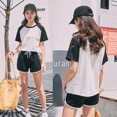 運動套裝女夏2018新款韓版時尚拼色寬鬆短袖短褲跑步服休閒兩件套『潮流世家』