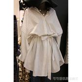 2018韓國東大門春秋條紋襯衫連身裙寬鬆收腰顯瘦襯衣裙子女短裙  Cocoa