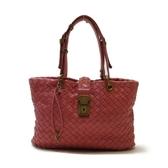 BOTTEGA VENETA 寶緹嘉 粉紅色羊皮編織手提包 【二手名牌BRAND OFF】