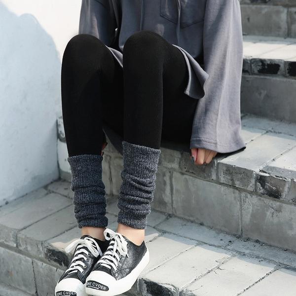 秋季打底褲外穿薄款腳口針織堆堆襪拼接褲襪女黑色九分小腳長褲子