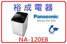 【裕成電器.分期0利率】Panasonic國際牌12公斤變頻直立式洗衣機 NA-120EB   槽洗淨  省水節能標章