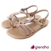 GRENDHA 布達佩斯冰石平底涼鞋-褐色