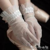 吉家原創《毓傾》春季新款中短款新娘蕾絲網紗手套婚紗旅拍造型款 晴天時尚館