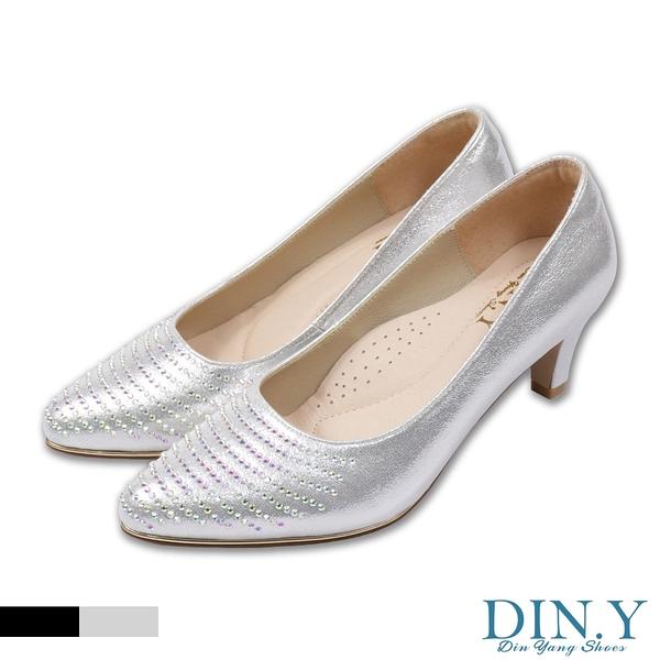 珠光感鑲鑽真皮裡跟鞋(銀) 婚鞋.尖頭鞋.中低跟.晚宴鞋.5.5cm高.女鞋【S189-07】DIN.Y