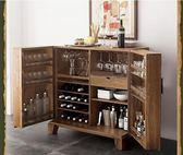 電子紅酒櫃 實木電子紅酒櫃美式榆木洋酒水櫃廚房餐邊櫃歐式收納櫃客廳復古儲藏櫃 DF