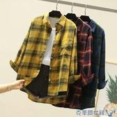 格子襯衫 春秋新款格子襯衫女長袖bf風寬鬆百搭大碼韓版磨毛休閒外套衫