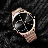 CK / K3M21621 / 真愛時刻 經典簡約 瑞士製造 米蘭編織不鏽鋼手錶 黑x鍍玫瑰金 40mm