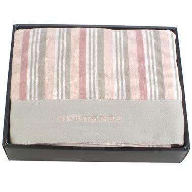 BURBERRY時尚條紋浴巾禮盒(粉色)084732