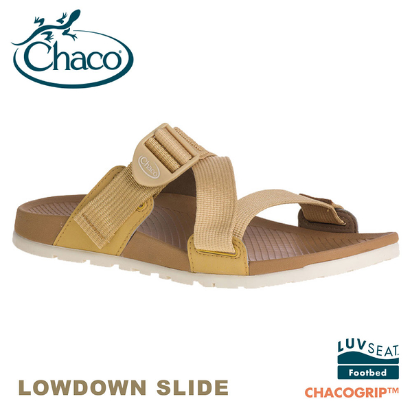 【CHACO 美國 女 LOWDOWN SLIDE休閒拖鞋《咖哩黃》】CH-LSW01HG02/休閒涼鞋