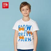JJLKIDS 男童 小車車王國塗鴉短袖上衣 T恤(白色)