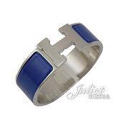 茱麗葉精品【全新現貨】HERMES CLIC H LOGO 琺瑯寬版手環.銀/鈷藍