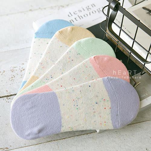點點紗拼色後跟止滑隱形帆船襪(大人款) 隱形襪 女襪 矽膠止滑襪