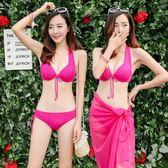泳衣女比基尼三件套性感小胸聚攏鋼托裙式三角遮肚韓國海邊泳裝 QQ3303『MG大尺碼』