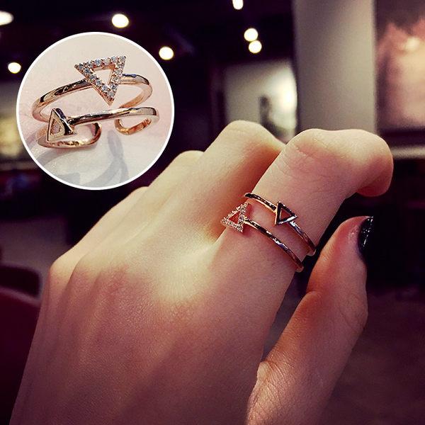 開口可調節韓版戒指女個性時尚簡約網紅冷淡風食指環裝飾品ins潮 喵小姐