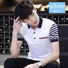 【Y092】shiny藍格子-秀氣紳士.夏季韓版拼接撞色翻領短袖POLO衫