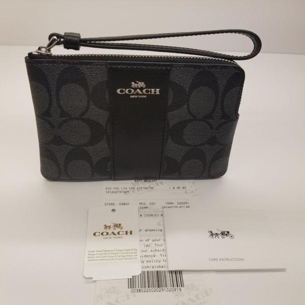 美國代購 COACH真品真皮+PVC皮革材質 馬車 LOGO黑灰C LOGO 精美小手拿包  最新款  限時特價 $1080