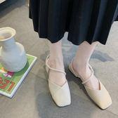 鞋子女韓版平底百搭方頭包頭涼鞋學生羅馬鞋chic   琉璃美衣