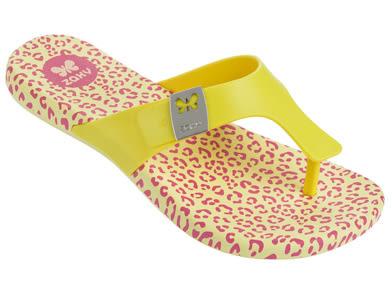 [陽光樂活] Zaxy (童) Intense Kids 夾腳拖鞋 - ZA8177090073 鵝黃豹紋