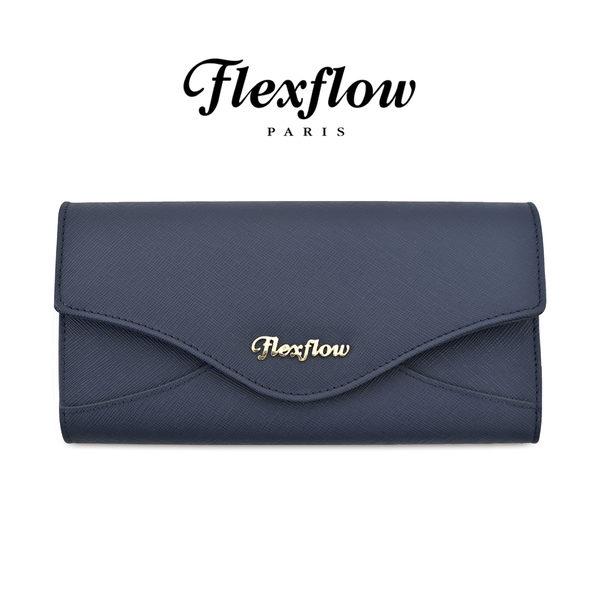 Flexflow-皮雅芙-Piaf-真皮防刮牛皮-蝴蝶三折長夾-磁扣對開式長皮夾-法國藍