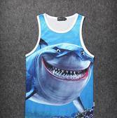 夏日背心男 沙灘 潮個性海洋公園鯊魚圖案印花旅游渡假游泳速干衣雙11限時八五折搶先購
