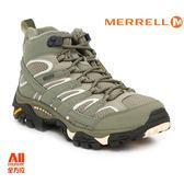 【Merrell】女款HIKING 郊山健行MOAB 2 MID GTX多功能系列 -橄欖灰綠(12116)【全方位運動戶外館】